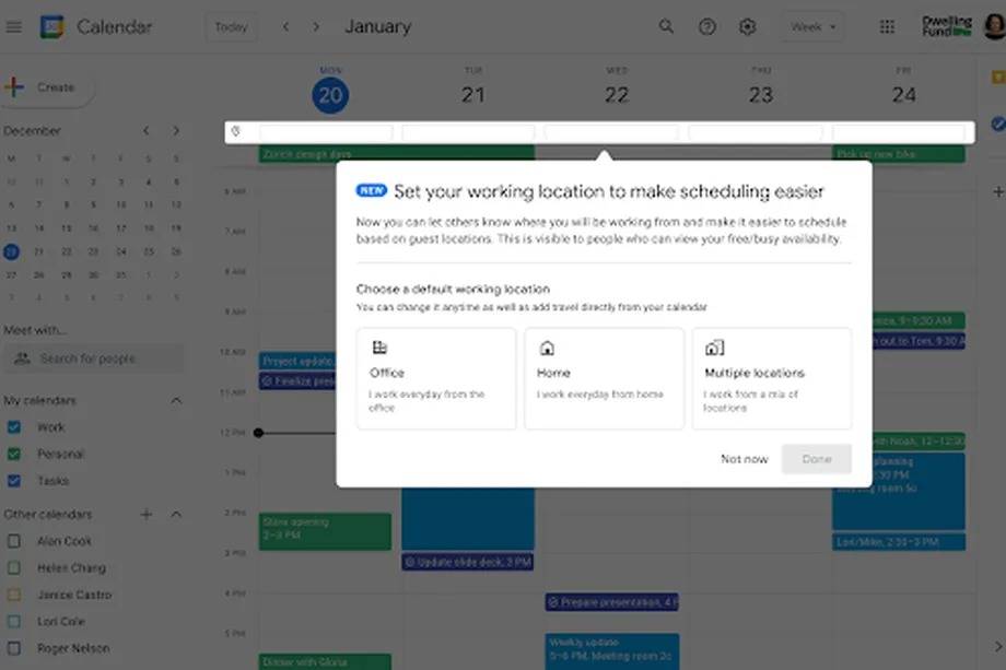 Google Calendar will let you record where you're working to help organize office meetings